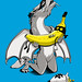 Dragon Wolf and Banana Bandit - Vector & Color - Stage 3 by bortwein75