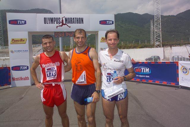 Η τριάδα των νικητών του 1ου Olympus Marathon