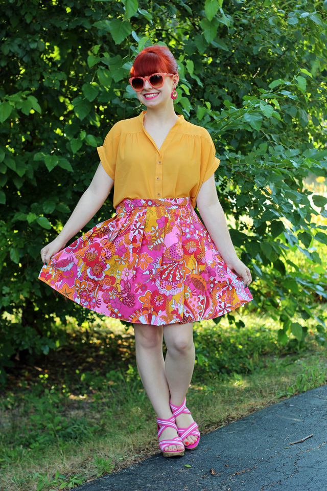 Tropical Skirt, Mustard Top, Pink Wedges