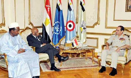 African Union delegation members former Malian President Alpha Oumar Konare and Festus Gontebanye Mogae of Botswana meeting with Egyptian military leader General al-Sisi on July 30, 2013. by Pan-African News Wire File Photos