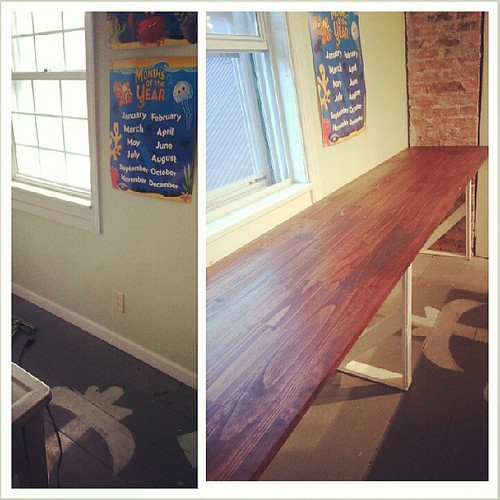 Tada! Fab new eight foot work space.