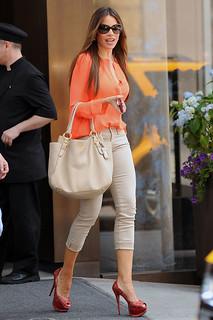 Sofia Vergara Beige Jeans Celebrity Style Women's Fashion