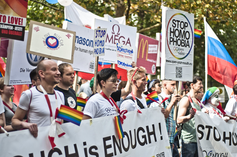 """""""Enough is enough – Open your mouth!"""", Demonstration against homophobia in Russia"""