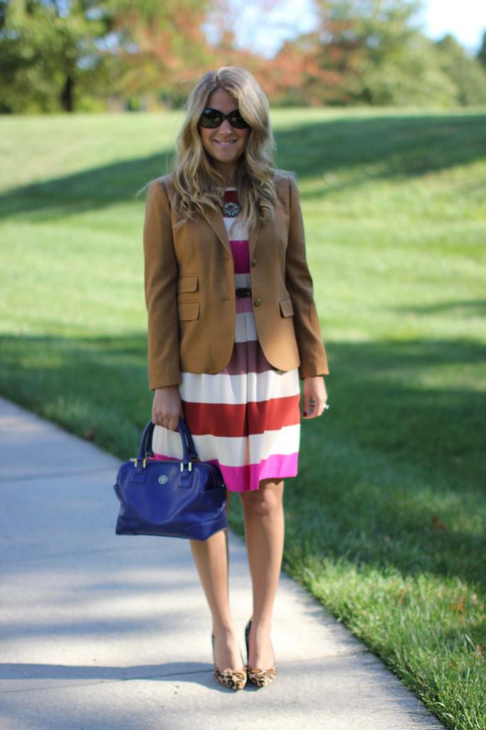pink striped dress and JCrew Schoolboy Blazer
