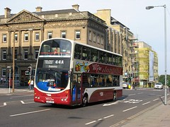 'The Mill Race' branded Volvo B7TL/Wright, 728 (SN55BNA), pictured in St. Andrew Square, Edinburgh, working service 44A to Balerno on 28th September 2013....