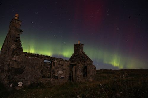 Just needs a roof! Northen Lights, Aurora Borealis, Great Bernera, Isle of Lewis, Scotland
