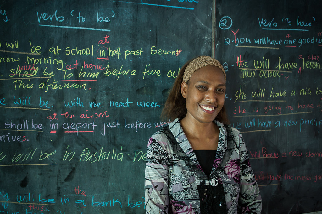 Grade 11 teacher Annette teaches English to her students at Norsup Secondary School. AusAID supports education projects on Malekula Island.