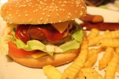 breakfast sandwich(0.0), sandwich(1.0), junk food(1.0), hamburger(1.0), veggie burger(1.0), french fries(1.0), food(1.0), whopper(1.0), dish(1.0), big mac(1.0), fast food(1.0), cheeseburger(1.0),