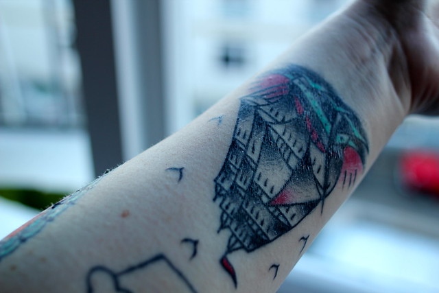 """A ship is safe in harbour, but ships were not meant for that"" tattoo by William P Brown"