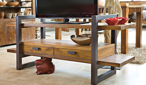 john erdos teak wood tv console