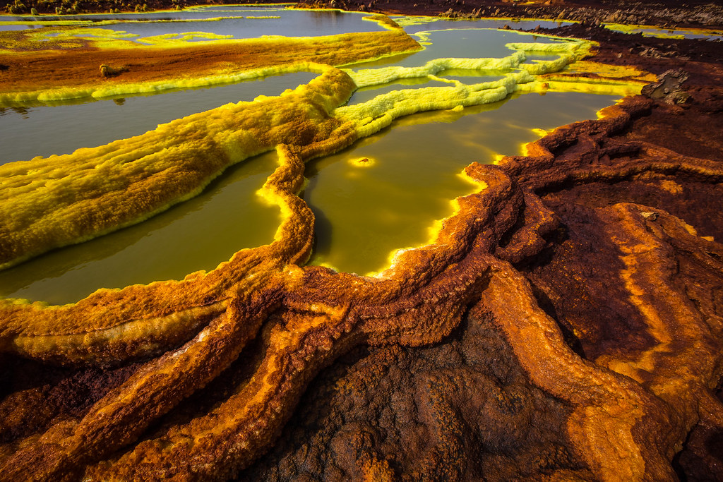 pools of the volcanic acid sulfur in the plain of Dallol, Danakil depression