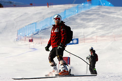 Chris Williamson during super-G inspection at the 2013 IPC Alpine Skiing World Championships in La Molina, Spain.