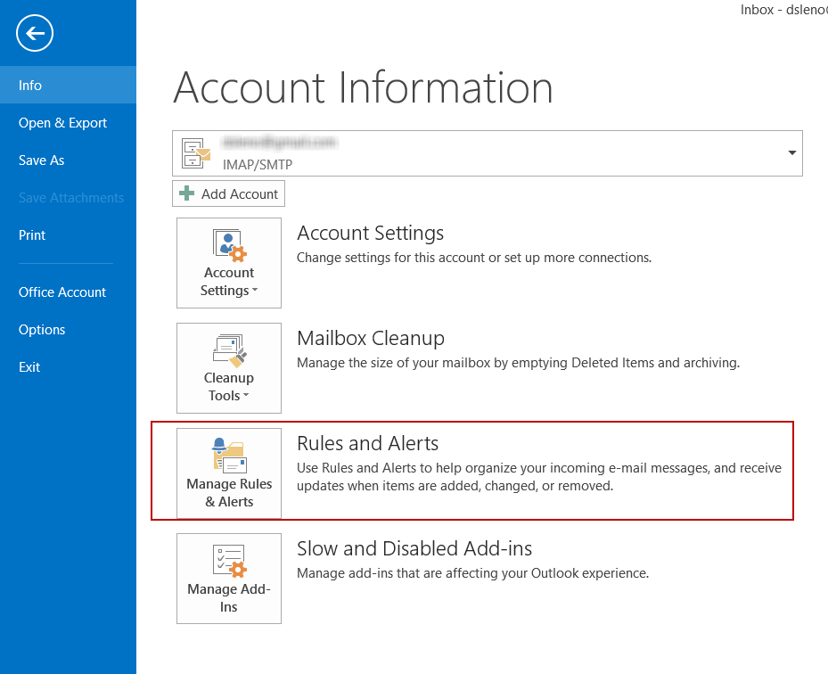 Image shows the location of Outlook 2013 Rules and Alerts.