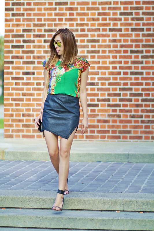 lucky magazine contributor,fashion blogger,lovefashionlivelife,joann doan,style blogger,stylist,what i wore,my style,fashion diaries,outfit,asha mia,leather skirt,shop luna b,blush by scarlet,ootn,floral,trends,spring,zero uv,short hair