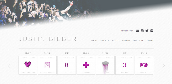 screenshot official website justin bieber | ekajogja.com