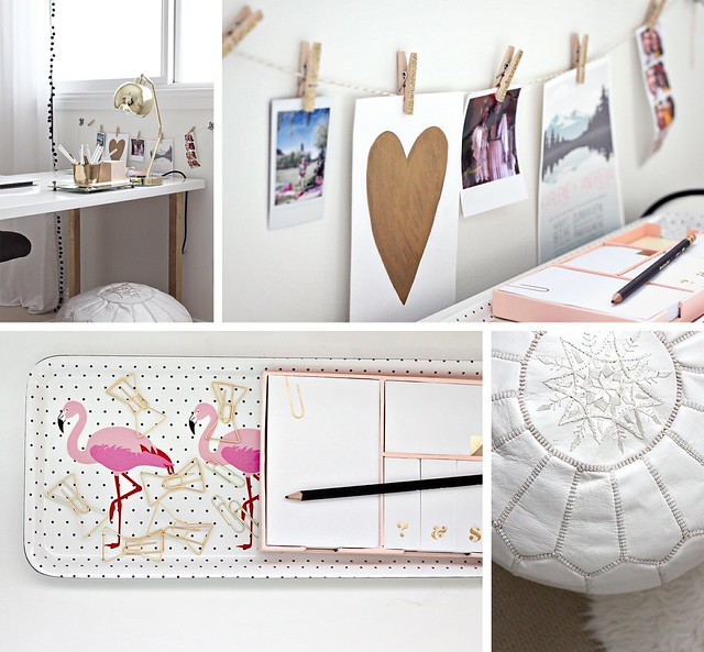 Gold, Pink Home Office