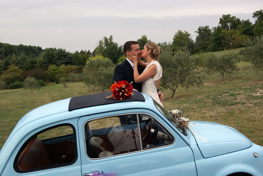 mariage en fiat 500 bleue a stylefont size08 - Location Fiat 500 Mariage
