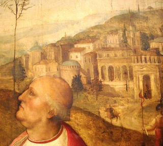 "Portrait of Oliviero Carafa. On background the Saint Peter basilica in Rome (Detail) - ""Jesus Christ and cardinal Oliviero Carafa"" (about 1511) by Cesare da Sesto (Sesto Calende 1477-Milan 1523) - Naples Capodimone Museum"