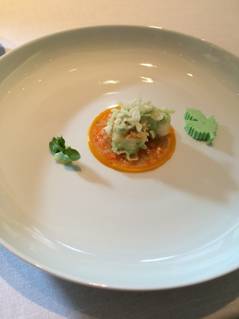 Tim Raue langoustine with wasabi crisp rice