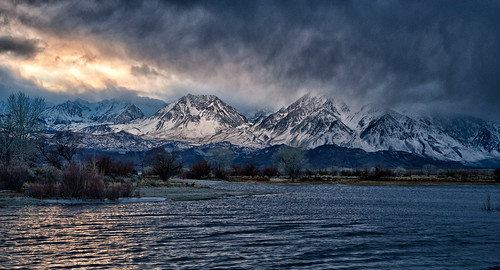 california winter sunset sky lake snow storm mountains nature water landscape pond cloudy scenic sierranevada easternsierra