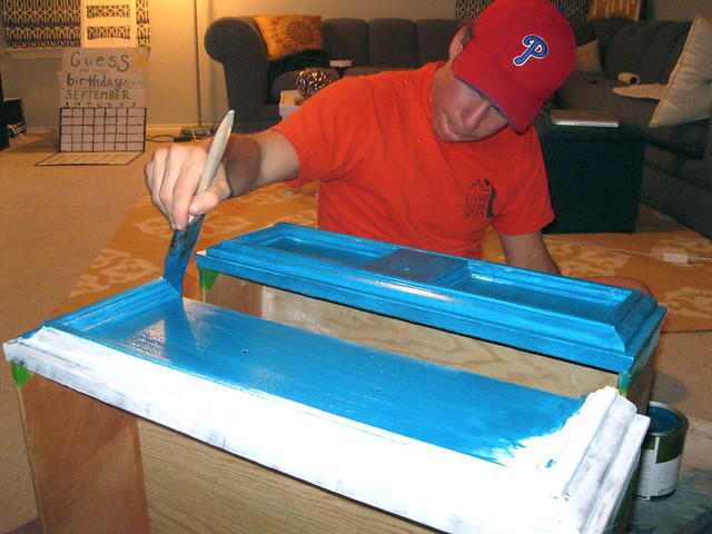 nick painting drawers teal