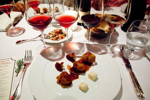Maialino Croccante: Crispy pork loin, dark plum compote, white almond potato pureé