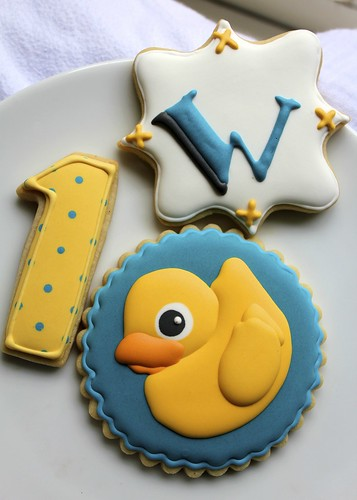 First birthday ducky cookies