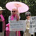 From left, Renay Davis of San Francisco, Janin Boneparth of Sausalito demonstrating against Pelosi's support of the NSA's surveillance (Alan Dep/Marin Independent Journal)