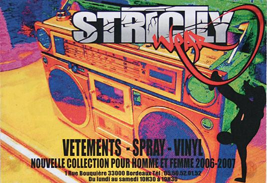 Création de flyers pour la boutique Strictly à Bordeaux (31).