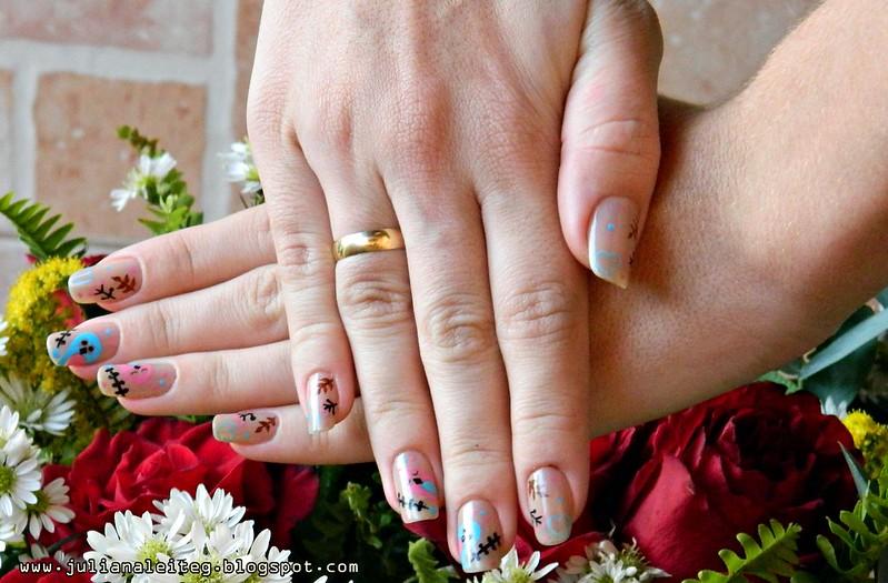unhas da semana nail art rosa e azul noivado passarinho 002