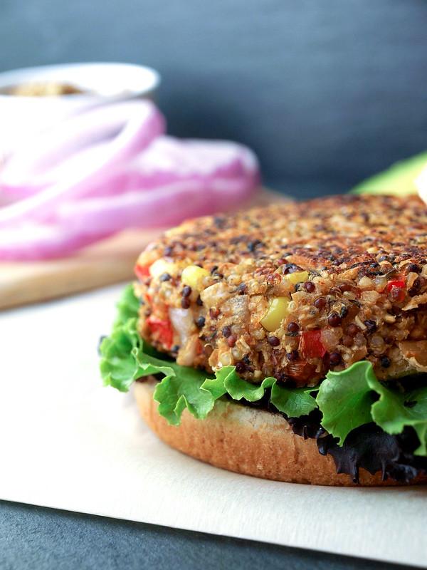 Quinoa & White Bean Veggie Burgers Patty Plain