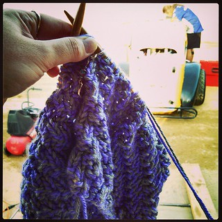 My view #knitting while he tries to fix the #racecar #motorissues #8 #knitstagram