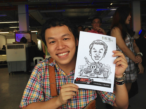 caricature live sketching for NTUC U Grand Prix Experience 2013 - 5