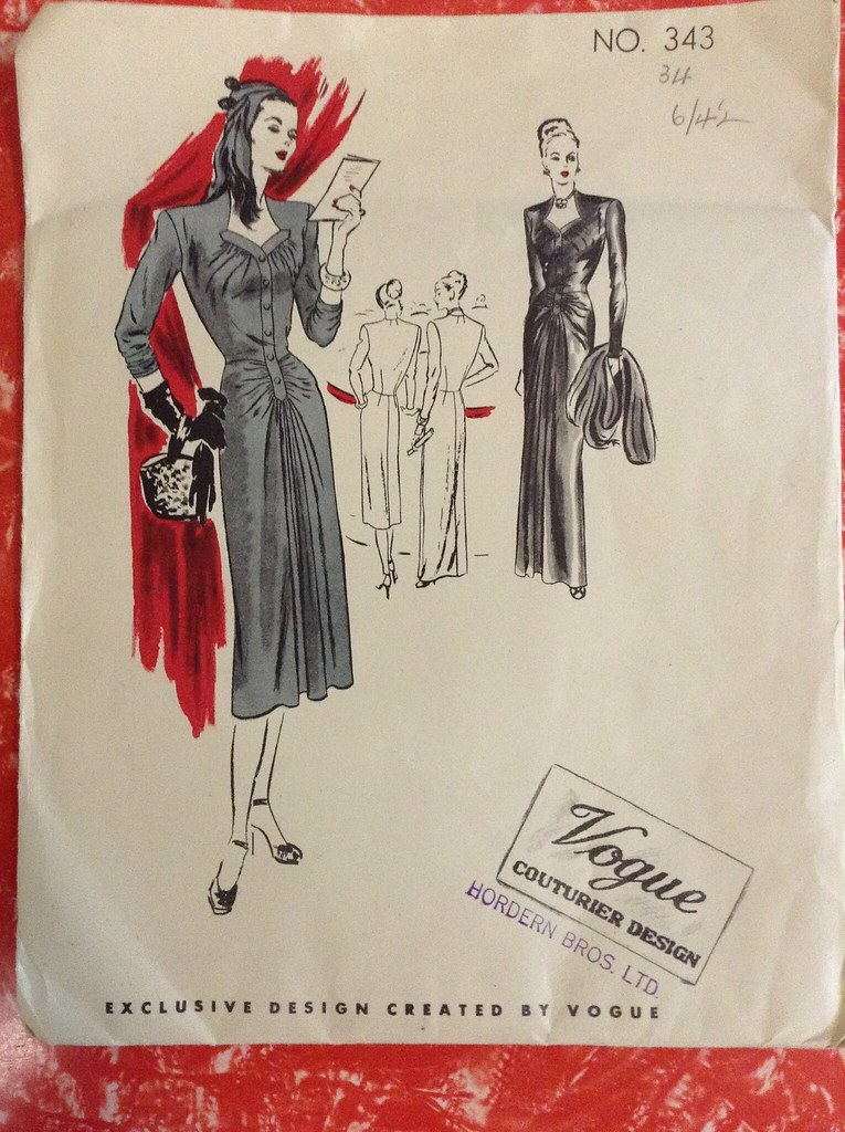 vogue couturier sewing pattern 343 1940s