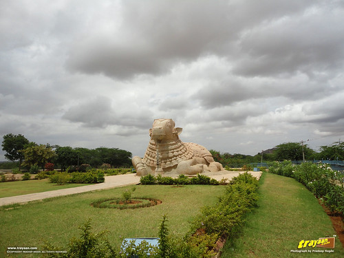 15 feet high monolithic Nandi at Lepakshi, in Andhra Pradesh, near Andhra - Karnataka border, India
