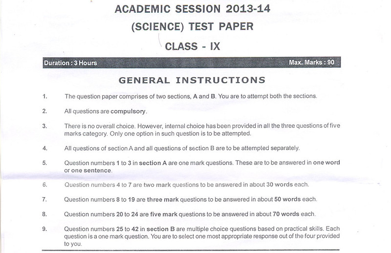 CBSE Class IX Science Sample Paper Part A