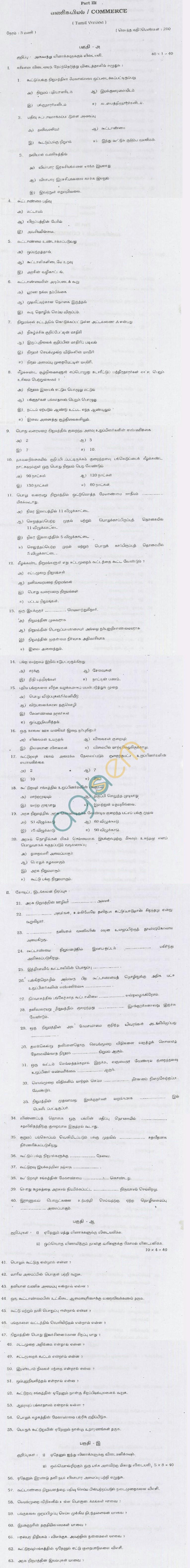 TN Board Higher Secondary (Plus 2)CommerceQuestion PapersJune 2011