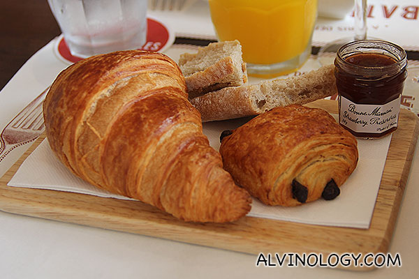 The croissants were light and fluffy, served with home made jams