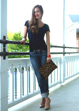 bedford springs jeans and a black t-shirt and heels