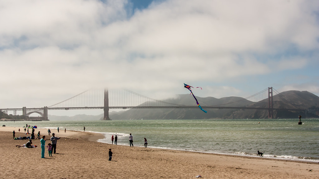 Beach day by the Golden Gate Bridge