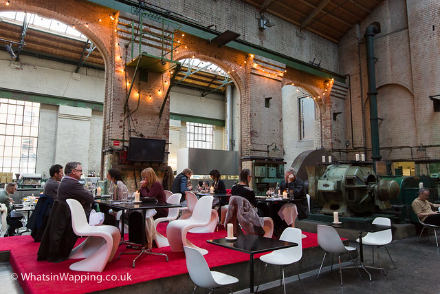 People enjoying the last day of the Wapping Project restaurant on 1 December 2013