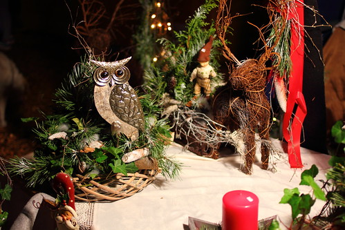 Christmas decorations with owls and deer