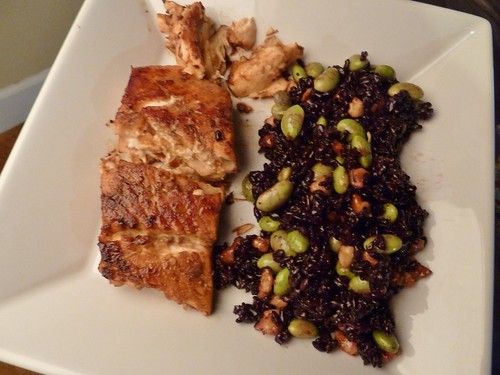 Balsamic-Ginger Marinated Salmon and Black Rice Salad with Edamame, Walnuts & Lemon Vinaigrette