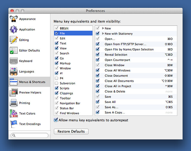 BBEdit keyboard shortcuts
