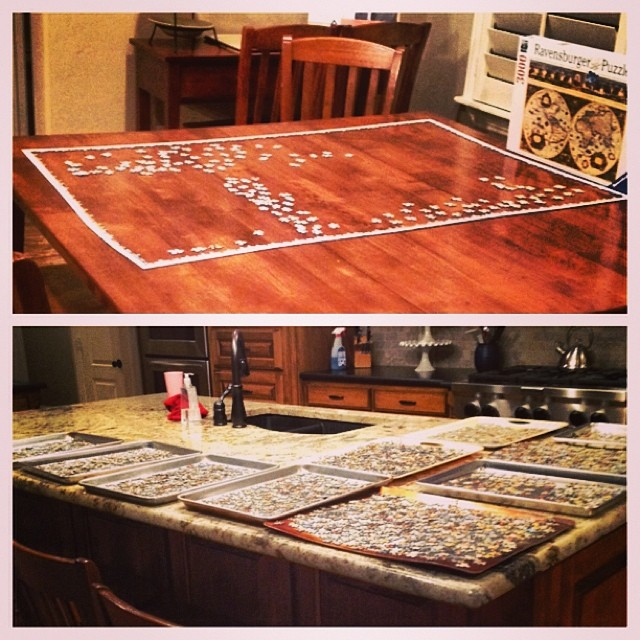 Having never attempted a 3000 piece puzzle, I started with a plan. All pieces are separated on trays by shape. Edge is assembled. Now to work section by section. What I need are local puzzle fans to come over this week and help. Open invitation. Seriously