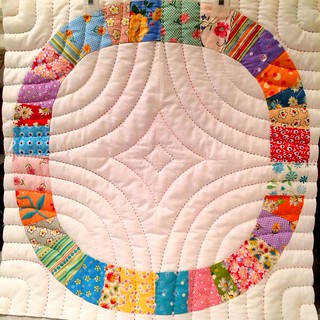 Single Girl block with pearl 8 cotton pick stitch quilting