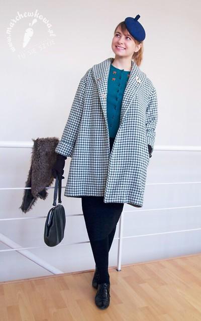 szyciowy blog roku 2012, moda, retro, vintage, szycie, krawiectwo, sewing, 50s, coat, płaszcz, pepitka, wełna, Burda, Misstery, River Island, CCC, Szaleo, King Louie, Zalando