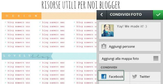 risorse utili per le blogger, come condividere le foto di instagram su facebook, come creare una tabella con html e css