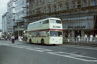 Leicester City Transport 106 PBC106G Leyland Atlantean Park Royal of 1969 on loan to South Yorks PTE in Sheffield Summer 1981 NC7