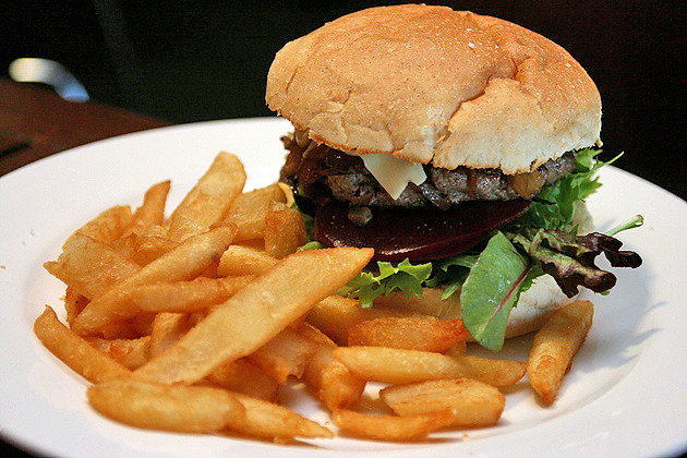 The Brewery Steak Burger with Beer Battered Fries